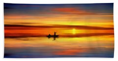 Bath Towel featuring the painting Sunset Fishing by Harry Warrick