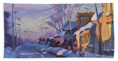 Sunset In A Snowy Street Bath Towel