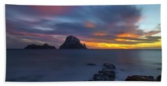 Sunset In The Mediterranean Sea With The Island Of Es Vedra Bath Towel