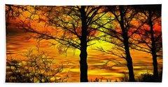 Bath Towel featuring the painting Sunset Lake by Harry Warrick