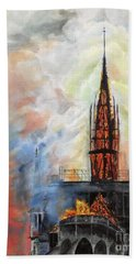 Sunset On Notre Dame Bath Towel