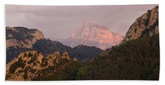 Bath Towel featuring the photograph Sunset On Pena Montanesa by Stephen Taylor