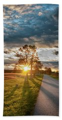 Sunset On The Field Hand Towel