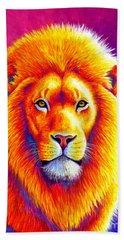 Sunset On The Savanna - African Lion Bath Towel