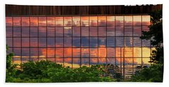Sunset Reflections On A Wall Of Glass Bath Towel