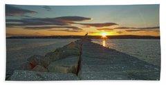 Sunset Seawall Hand Towel