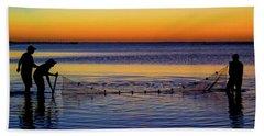 Sunset Seining On Copano Bay Bath Towel