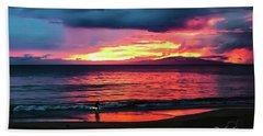 Sunset Surf At Maui Hawaii Bath Towel