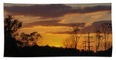 Sunset With Electricity Pylon Hand Towel