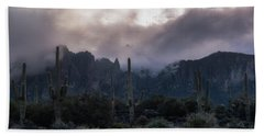 Superstition Mountains As The Snow Falls Bath Towel