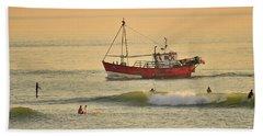 Surfing At Dusk Ij Aberystwyth Hand Towel