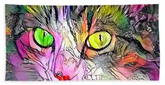 Surreal Cat Wild Eyes Hand Towel