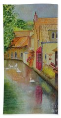 Hand Towel featuring the painting Swan Canal by Karen Fleschler