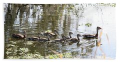 Swimming Black-bellied Whistling Duck Family Bath Towel