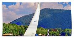 Tacking Lighthouse Sailor, Smith Mountain Lake Bath Towel