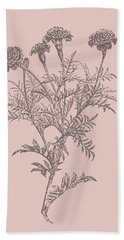 Tagetes Patula Blush Pink Flower Bath Towel