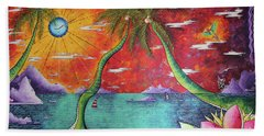 Take Me To The Tropics Tropical Surrealism Mad Wonderland By Megan Duncanson Hand Towel