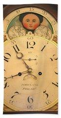 Tall Case Clock Face, Around 1816 Bath Towel
