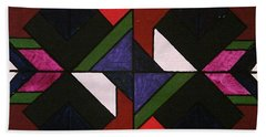 Bath Towel featuring the painting Tangram Art Number 5 Stained Glass by Samantha Galactica
