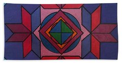 Bath Towel featuring the painting Tangram Art Number 7 Metallic by Samantha Galactica