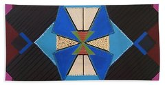 Bath Towel featuring the painting Tangram Geometric #1 by Samantha Galactica
