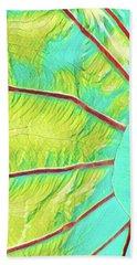 Taro Leaf In Turquoise  Hand Towel