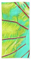 Taro Leaf In Turquoise  Bath Towel