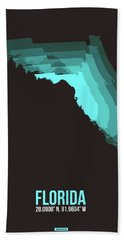Teal Map Of Florida Bath Towel