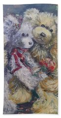 Hand Towel featuring the painting Teddy Bear Honeymooon by Ryn Shell