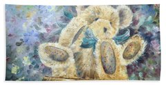 Hand Towel featuring the painting Teddy Bear In Basket by Ryn Shell