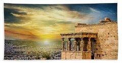 The Caryatids Of Acropolis In Athens, Greece Bath Towel