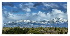 The City Of Bariloche And Landscape Of Snowy Mountains In The Argentine Patagonia Hand Towel
