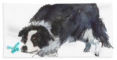 The Collie And Blue Butterfly Bath Towel