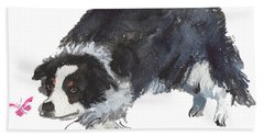 The Collie And Pink Butterfly Bath Towel