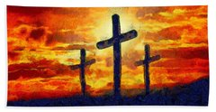 Bath Towel featuring the painting The Cross by Harry Warrick
