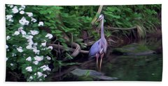 The Great Blue Heron - Impressionism Bath Towel
