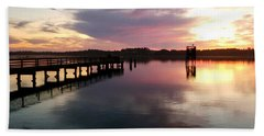The Hollering Place Pier At Sunset Hand Towel