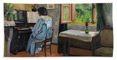 The Lady At The Piano, Varangeville, 1904 Hand Towel