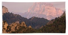 Bath Towel featuring the photograph The Last Of The Light At Pena Montanesa by Stephen Taylor