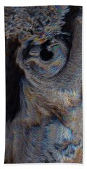 Bath Towel featuring the digital art The Old Owl That Watches by ISAW Company