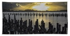 The Old Pier At Sunset Bath Towel
