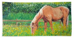 The Palomino And Buttercup Meadow Bath Towel