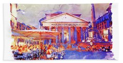 The Pantheon Rome Watercolor Streetscape Hand Towel