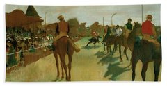 The Parade, Race Horses In Front Of The Tribunes, 1868 Hand Towel