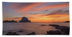 The Sunset On The Island Of Es Vedra, Ibiza Bath Towel