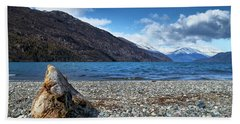 The Trunk, The Lake And The Mountainous Landscape Bath Towel