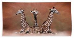 The Watchers - Three Giraffes Hand Towel