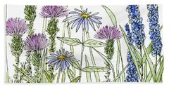 Thistle Asters Blue Flower Watercolor Wildflower Bath Towel