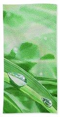 Three Dew Drops Realism In Watercolor Bath Towel