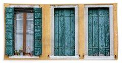 Three Green Windows Of Venice Hand Towel